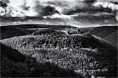 The Place to reach... (Ody on the mount) Tags: anlässe em5 filmkorn himmel hohenurach mzuiko1250 omd olympus rahmen ruinen schwäbischealb wald wanderung wolken bw monochrome sw badurach badenwürttemberg deutschland de