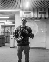Testing my friend's new camera (Boris Zhigun) Tags: fujica fujinon gl690 среднийформат mediumformat 120film moscow russia москва россия selfportrait portrait kodak 400tx mirror reflection metro undergroud subway mcc мцк tourniquet scheme leninskyprospekt ploshchadgagarina station ленинскийпроспект площадьгагарина bw texasleica rangefinder