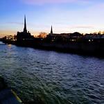 Grand River in Cambridge at dusk. thumbnail