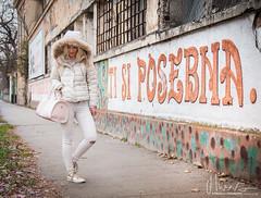 Ti si posebna... (You are the special one) (v.Haramustek) Tags: girl woman pretty street tisiposebna graphity sign text white snowhite osijek croatia canon eos70d