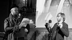 Shoreline of Infinity night December 2017 020 (byronv2) Tags: shorelineofinfinity literature sciencefiction frankensteins frankensteinsbierkeller stage writer author scotland edinburgh edinburghbynight night nuit nacht peoplewatching candid theinfinitesimals jonathanwhiteside benblow actor play theatre acting georgeivbridge edimbourg blackandwhite blackwhite bw monochrome