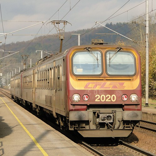 CFL Electric trainset N° 2020 in Walferdange.
