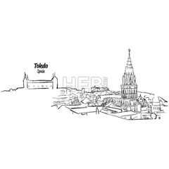 Toledo Ancient Skyline Panorama Sketch (Hebstreits) Tags: alcazar ancient architecture banner beautiful building card castle cathedral city cover culture destination drawn europe european facade famous greeting hand heritage history landmark landscape medieval mediterranean national old outdoor outline panorama panoramic pen province sketch spain spanish title toledo tourism tower town traditional travel typo unesco vector