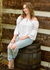 Beauty on a Barrel (R.A. Killmer) Tags: jeans seniorphotos senior bethelpark southpark rural cute beauty michaela barrel cabin rustic pose portrait