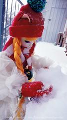 Reaa's first snowfall (Lawrichai) Tags: bjd abjd bjdphoto bjdphotography dollphoto dollphotography dollmore anthropomorphic catgirl reaa dreamingreaa catishgirl lawrichai winter snow orangehair braids scarf snowball mittens