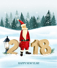 Happy New Year 2018 background with presents and Santa Claus. Vector. (everythingisfivedollar) Tags: art background bow box card celebrate celebration christmas color concept december design element flyer gif gift greeting happy holiday january label merry message nature new party present snow snowflake tree winter xmas year sign vector number banner branch 2018 santa claus