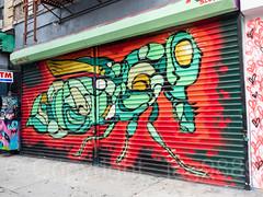 Security Gate Mural, Lower East Side, Manhattan, New York City (jag9889) Tags: 2017 20170617 gate graffiti les lowereastside lowermanhattan manhattan mural ny nyc newyork newyorkcity outdoor painting rolldown securitygate shop store streetart tagging usa unitedstates unitedstatesofamerica jag9889