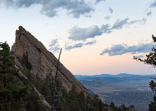 Boulder Flatirons - Flatiron and Boulder at Sunset