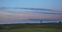 The last shot of the day (Jo Evans1 - catching up again!) Tags: pennard golf club golfer last shot day pink clouds lines water tower