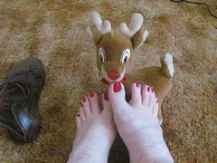 China Glaze | Seduce Me | With Rudolph (markrudolph203) Tags: gay homosexual homo toe toes nail nails toenail toenails color polish enamel guy male dude feet foot reindeer red china glaze seduce seduse me sandal sandals