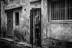 Sécurité... / Safety... (vedebe) Tags: humain people homme city ville street rue urbain grilles noiretblanc netb nb bw monochrome fenêtre portes
