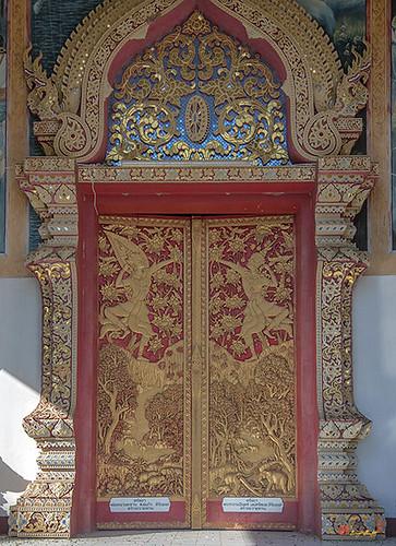 Wat Buppharam Phra Wihan Center Doors (DTHCM1576) วัดบุปผาราม ประตูกลางๆ พระวิหาร