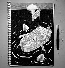 Inktober 2017 - Boat (Marcos D. Torres) Tags: indoor painting mural paint pintura pintor art artist draw drawing desenho design pen pencil marker spray spraycan paper doodle rabisco rascunho exercise sketch sketchbook caderno outdoor black white yellow orange purple blue red green colorfull pb bw wood glass metal face portrait type letter typography profile hand skull animal inktober rat mouse lemon fruit movie simpsons poison underwater blind shy bee cigarrete boat zombie