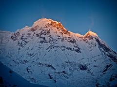 Sunrise over Annapurna South Peak from Annapurna base camp, Nepal (CamelKW) Tags: abc annapurnabasecamptrek annapurnaregiontrek annapurnasanctuary fishtail kathmandu mbc machapuchare machapucharebasecamp nepal pokhara trekking