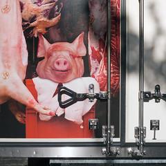 *burp* (Goran Patlejch) Tags: van butcher door flesh meat pig head red blood refridgeratedvan refridgerated truck lorry back