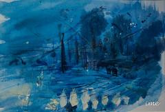 une aquarelle bleue, une plage blanche de lumière et une corrosion rouge... .. (peu présente...ailleurs !) Tags: bleu aquarelle abstraction