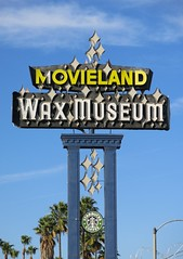 Movieland Wax Museum Sign - Buena Park, Calif. - To be demolished? (hmdavid) Tags: vintage sign roadside advertising movieland wax museum buenapark california 1960s 1962 midcentury design kitcarson motel motelodge