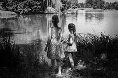 """at the small lake (""""Life in the square"""") Tags: lake girls kids children nature fine atmosphere childhood impression monochrome black white light romantic dreamy art still life summer august 2013 lednice park trees garden flora fauna shadows reflection people duo sisters lovely sweet beauty beautiful memories marek caran"""