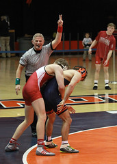 Two point reversal for Indiana (RPahre) Tags: wrestling bigten b1g champaign illinois indiana universityofillinois indianauniversity huffhall huff referee reversal