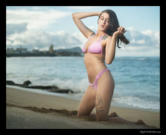 Jessica - Sand Island (madmarv00) Tags: d600 nikon beach bikini brunette girl haleiwa hawaii kylenishiokacom model oahu ocean outdoor swimsuit woman shore sand jessica