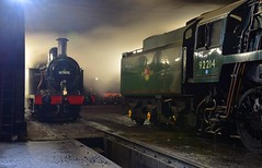 LMS Jinty Loco No. 47406 coaling up on the shed, in preparation for the evening dining train, from Loughborough, Great Central Railway. 18 11 2017 (pnb511) Tags: loco locomotive locos locomotives steam smoke power track thelasthurrah endofseasongala dark night illuminated 47406 92214 9f 3f