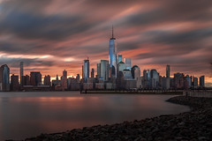 The skyline 地平線 (kaising_fung) Tags: buildings architect shoreline waterfront motion movement sunrise morning nyc downtown metropolitan