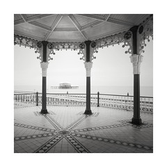 Between the Lines (GlennDriver) Tags: black white bw mono monochrome sussex brighton coast sea pier england uk long exposure city bandstand