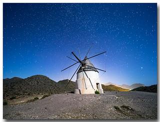 Molino de viento del Collado de los Genoveses. Parque natural del Cabo de Gata - Nijar, Almeria, España.