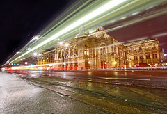 Vienna State Opera At Night (CoolMcFlash) Tags: vienna opera viennaoperahouse longexposure night building architecture wet street tramway light trails city illuminated canon eos 60d motion wien oper langzeitbelichtung nacht gebäude beleuchtet architektur nas strase strasenbahn licht lichtspuren stadt fotografie photography sigma 1020mm 35 wiener staatsoper state