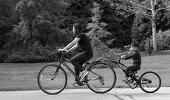 Mother & Son, Morton Arboretum. (EOS) (Mega-Magpie) Tags: canon eos 60d morton arboretum lisle dupage il illinois usa america people person mom mother son child lady boy dude bw black white mono monochrome bike bicycle outdoors