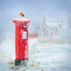 Post Early for Christmas (Pat McDonald) Tags: artrage britain england digitalart britishisles postbox snow winter christmas queensmail royalmail post box