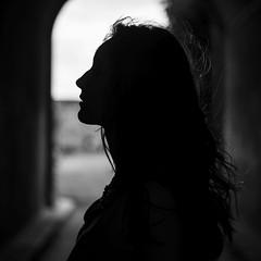Evelin, May 2016 (esztervaly) Tags: portrait portraitphotography portraitwoman portraiture portraits woman womanportrait summer summertime summerafternoon afternoon afternoonlights sunshine bokeh bokehbackground black white blackandwhiteportrait leaves natural naturallight face blackandwhite people monochrome silhouette explore