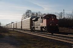 CN 8839 - E276 (railroadcndr) Tags: cn cnr canadiannational cndundassub ingersoll ontario canada cningersoll cne276 cn8839 emcc sd70m2 freight train engine locomotive track tracks railroad railway station signal switch siding yard racks