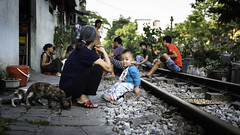 Anarchy on the railway (voxpepoli) Tags: hanoi hànội vietnam vn cat cats railway people streetlife child