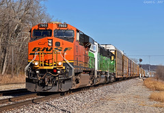 "Westbound Local in Birmingham, MO (""Righteous"" Grant G.) Tags: bnsf railroad railway locomotive train trains west westbound ns norfolk southern local transfer freight emd ge power kansas city missouri"