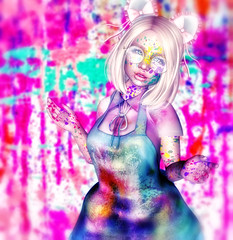 Tadaaaa! (ZameNezrulain) Tags: arcade gacha nani artist artistic paint painting art mesh bento kawaii cute teen female woman girl sweet mess messy photo photoshop photography people avatar avi secondlife second life digital virtual izzies entwined n21