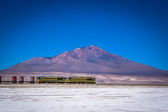 This train leaving Bolivia was headed for Chile loaded with salt.