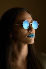 Blue Stare (PVA_1964) Tags: nikon d850 afs105mmƒ14 westcott apollo orb apolloorb sb5000 multipleflash wirelessflash offcameraflash studio studiostrobe female model modelmayhem rella candy candylips blue sunglasses