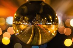 Esferas de Vitoria (Sergio Nevado) Tags: bola cristal crystal ball esfera sphere macro larga exposicion long exposure salburua vitoria alava araba pais vasco euskadi basque country carretera road luces lights
