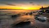 Morning At Seaham (Steven Peachey) Tags: sunrise sea sky clouds beach rocks morning sun seaham coast northeastcoast northeastengland uk england seahamchemicalbeach ef1740mmf4l 5dmarkiv canon5dmarkiv leefilters lee09gnd formatthitech stevenpeachey lightroom exposure light movement graduatedndfilter