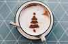 Tasty cappuccino with christmas tree shape (wuestenigel) Tags: natural color winter nature sweet beverage table brown background holiday hot food decoration black white latte chocolate cup art season closeup xmas christmas texture tannenbaum drink symbol arranged form cappuccino traditional christmastree cafe design espresso wooden latteart coffee tree