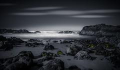 HORIZON (Rohit KC Photography) Tags: beach seascape marine horizon rocks sand sky cloud le long exposure black and white nd canon 5d mark ii 24105 f4l edited dark bw ca california usa rohitkcphotography