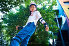 Skyline Skaters 48 (C & R Driver-Burgess) Tags: middleschool juniorhigh kids children boys girls young teen preteen ripstick inline skates skateboard pink blue shorts tights jacket tshirt concrete yard playground trees playing practice