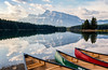 Mornings Are For Paddling (Kristin Repsher) Tags: alberta banff banffnationalpark canada canadianrockies canoes clouds d750 mountains nikon reflections rockies rockymountains twojacklake
