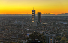 Milan is growing up (Fil.ippo) Tags: isozakitower hadidtower alps milano milan cityscape above panorama sunset tramonto filippo filippobianchi yellow giallo d610 nikon grattacieli skyscraper citylife