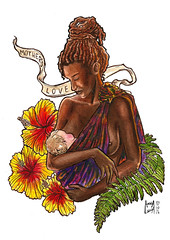Mother's love (Anna Luiza Aragão) Tags: motherslove love mother mommy watercolor aquarela aquarelle ink ecoline ecolinetalens talens aqualinecorfix nanquim flower hibisco hibiscus baby color colorful illustration aquarelleillustration watercolorillustration dread dreadlock