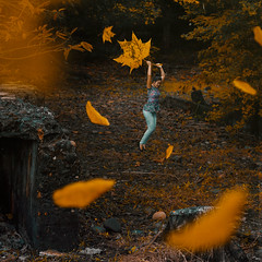 484 (Katrina Yu) Tags: fallen leaves autumn fall levitation surreal dream jumping tinypeople borrowers art artsy square conceptual creative concept 2017 365project manipulation photoshop