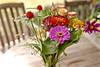 wildflower bouquet on wood table (Lynn Friedman) Tags: princeton newjersey wildflowers bouquet woodtable chairs