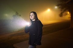 November Nights I (CynicismAndSugar) Tags: fog torch flashlight daughter rain rainy city urban sodium vapor dream dreamy nebo night evening