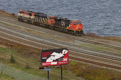 The AC Wrecked it! - Fairview, NS (CWentzell Photography) Tags: cn canadiannational railroad railway rail freight train bcol bcrail canada novascotia bedford fairview motivepower locomotives engines ocean atlantic fall autumn